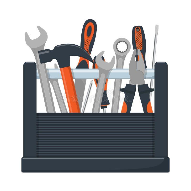 Narzędziowy pudełko z kolekcją ciesielka, mechanik, locksmith narzędzia Wyrwanie, śrubokręt, młot, raszpla, cążki Wektorowa ilust ilustracji