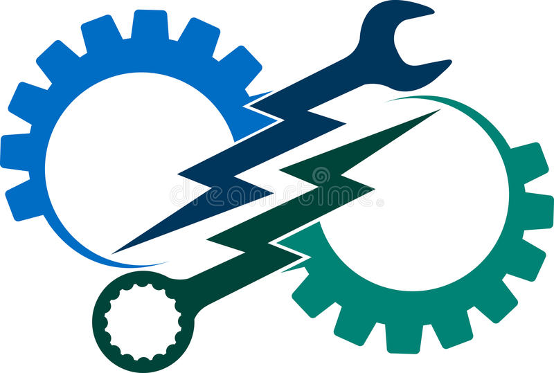 Narzędziowy władza logo royalty ilustracja
