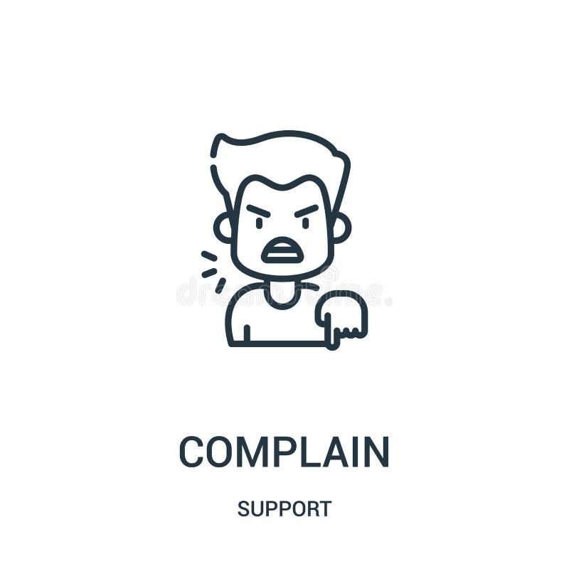 narzeka ikona wektor od poparcie kolekcji Cienka linia narzeka kontur ikony wektoru ilustrację Liniowy symbol dla używa na sieci royalty ilustracja