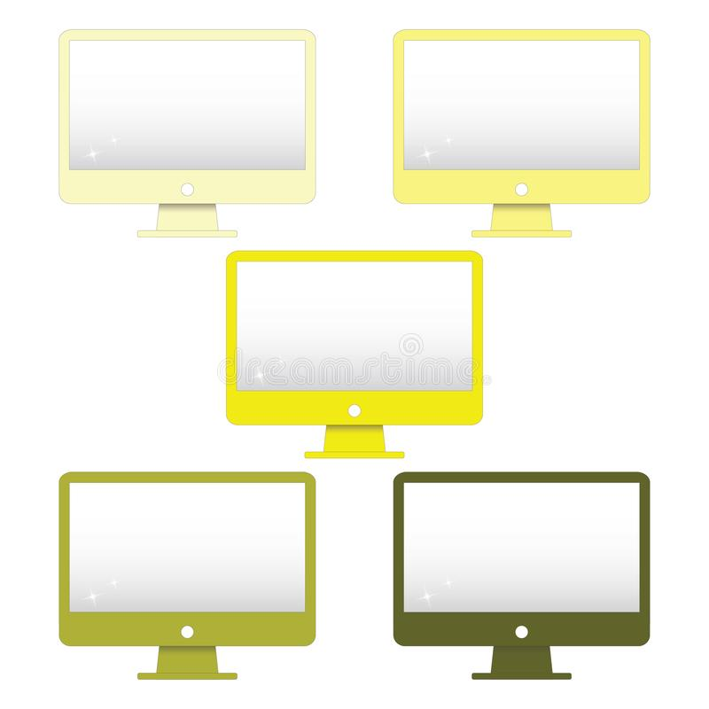 Yellow monitor clip art set, computer screen printable, vector illustration. Computer screen vector set. Monitor clip art set  for print them and apply onto a stock illustration