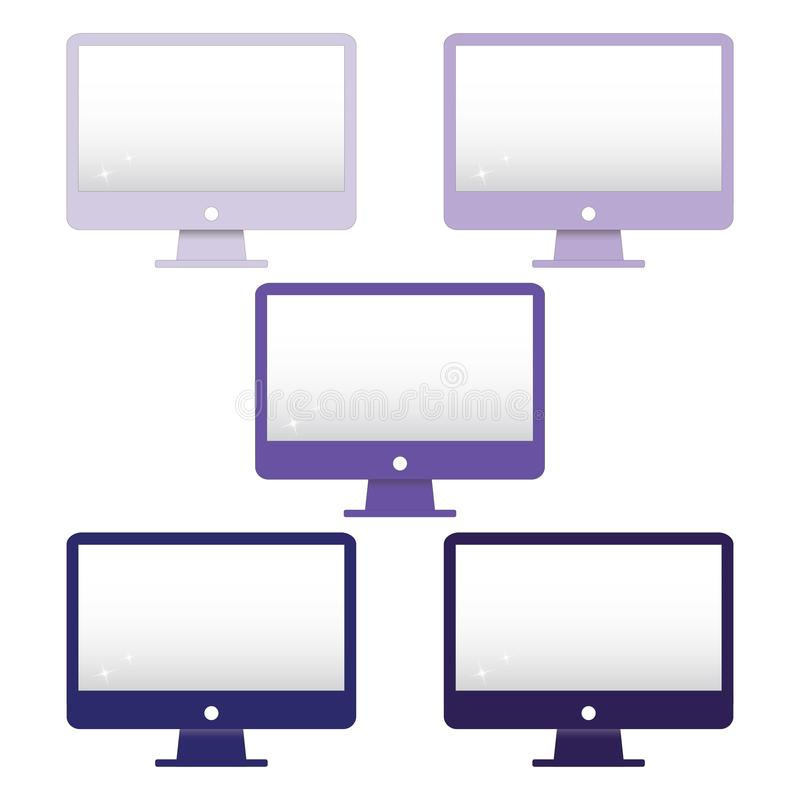 Purple monitor clip art set, navy blue computer screen printable, vector illustration. Computer screen vector set. Monitor clip art set  for print them and apply royalty free illustration