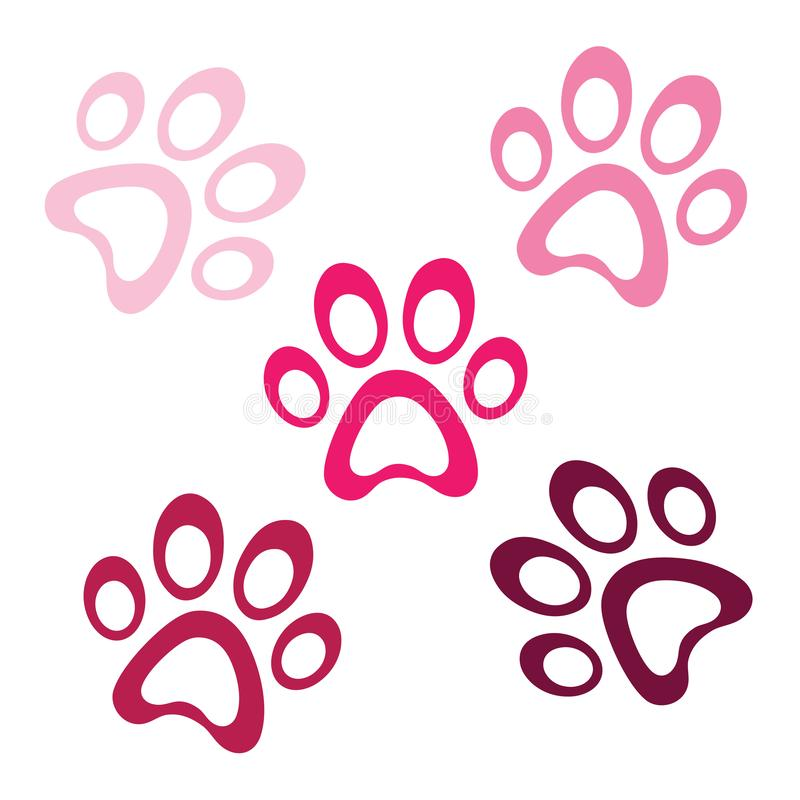 Pink paw prints icon on white background, paws logo icon, animal footprint template vector, isolated vector Illustration stock illustration