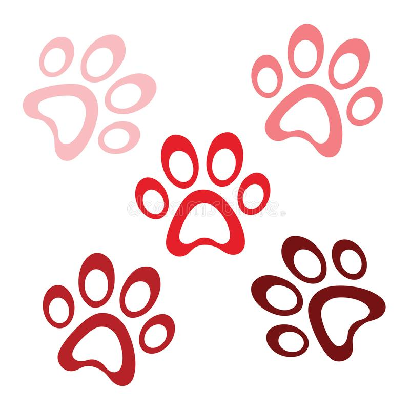Red dog paws, vector footprint logo icon, cat claw cartoon character, graphic symbol illustration royalty free stock image
