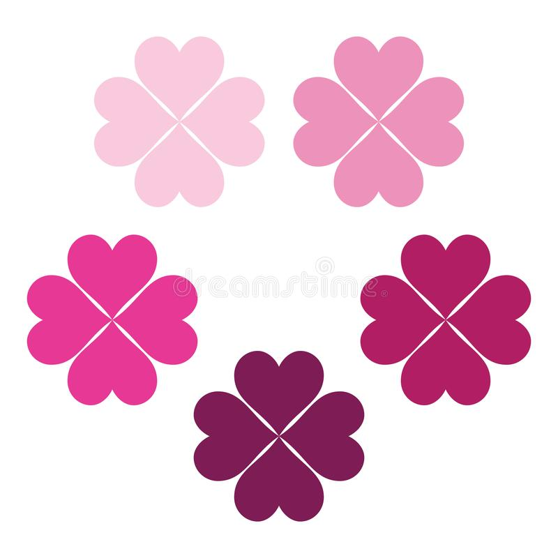 Baby pink set of clover leaves, a symbol of luck, poker symbol icon. royalty free illustration