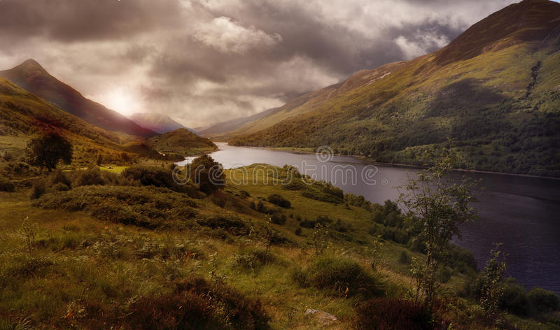 Nas montanhas de scotland foto de stock