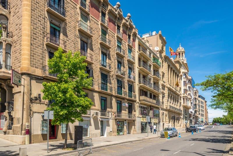 Nas ruas de Lleida em Catalonia, Espanha foto de stock