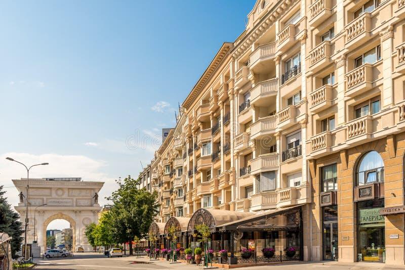 Nas ruas de Skopje foto de stock royalty free