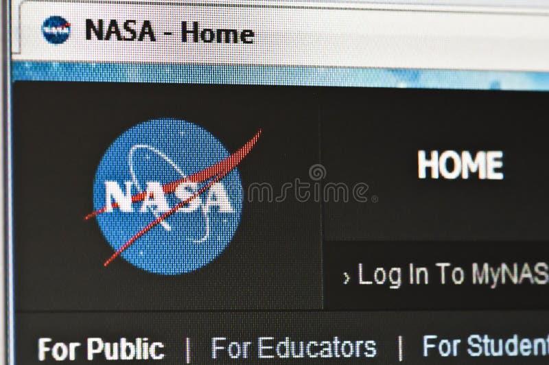Nasa. Macro image of monitor with nasa homepage loaded in web browser royalty free stock images
