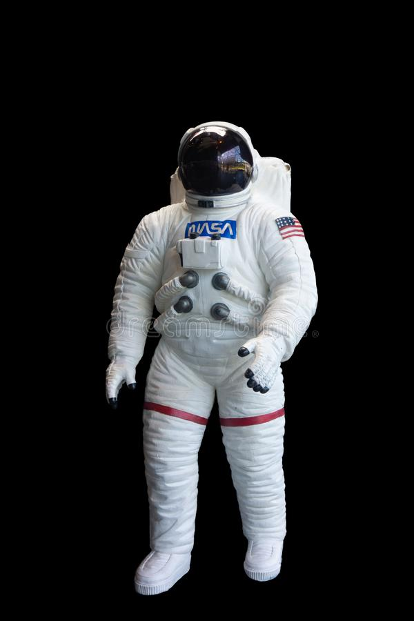NASA Astronaut Space Suit Vertical Black Background royalty free stock photography