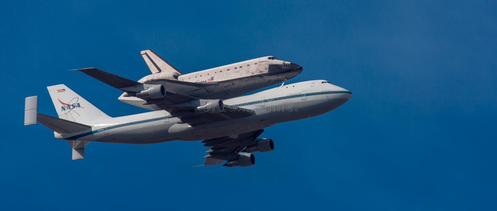 NASA 747 carries Space Shuttle Endeavor on last flight to Los An stock photography