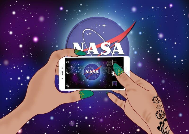 NASA logo. Editorial illustrations of NASA background in the night sky vector illustration