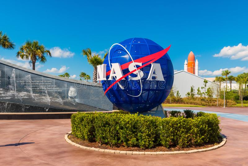 NASA Logo on Globe at Kennedy Space Center Florida royalty free stock image
