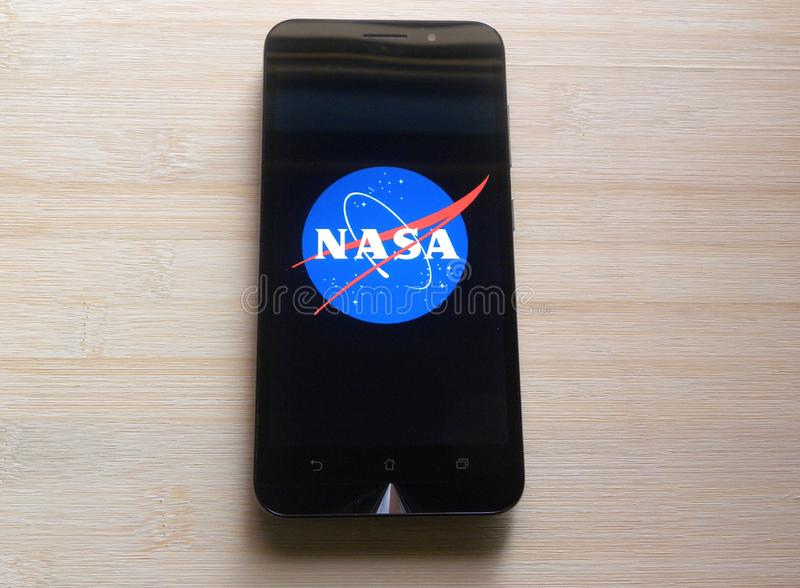 NASA p? smartphonen arkivbild