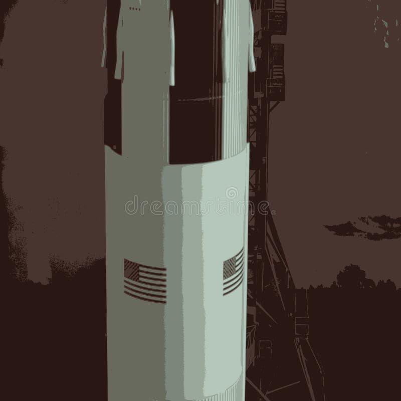 NASA Spaceship. A scalable illustration of a NASA Spaceship ready for take off vector illustration
