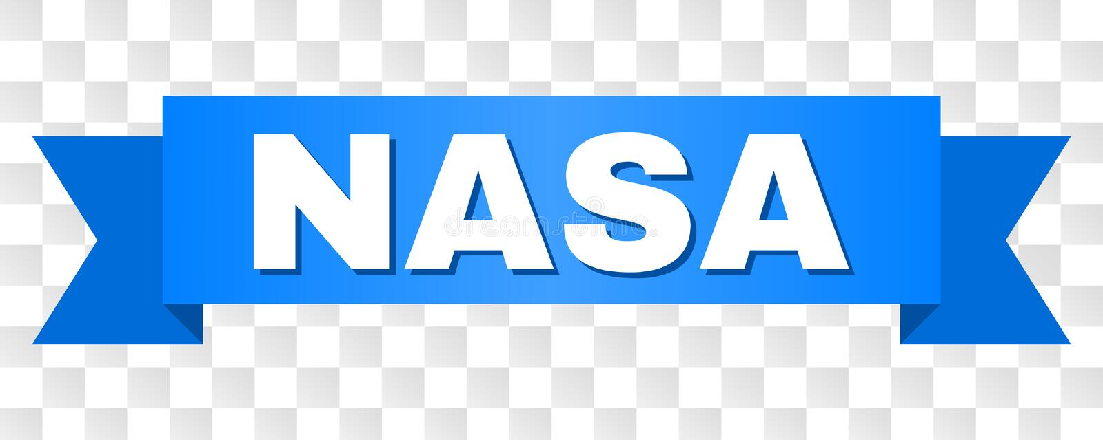Blue Tape with NASA Title. NASA text on a ribbon. Designed with white caption and blue stripe. Vector banner with NASA tag on a transparent background royalty free illustration