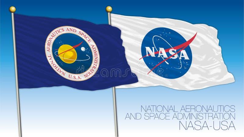 NASAflagga, USA, National Aeronautics and Space Administration vektor illustrationer