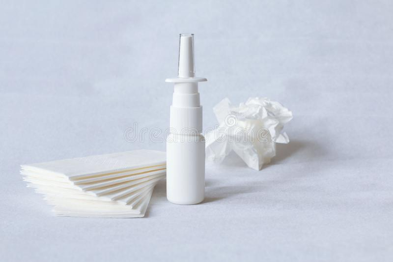 Nasal drugs, spray and handkerchiefs. Drops, sprays, medical forms for the treatment of rhinitis, dosage and non-dosed forms of drugs for the treatment of people royalty free stock photos