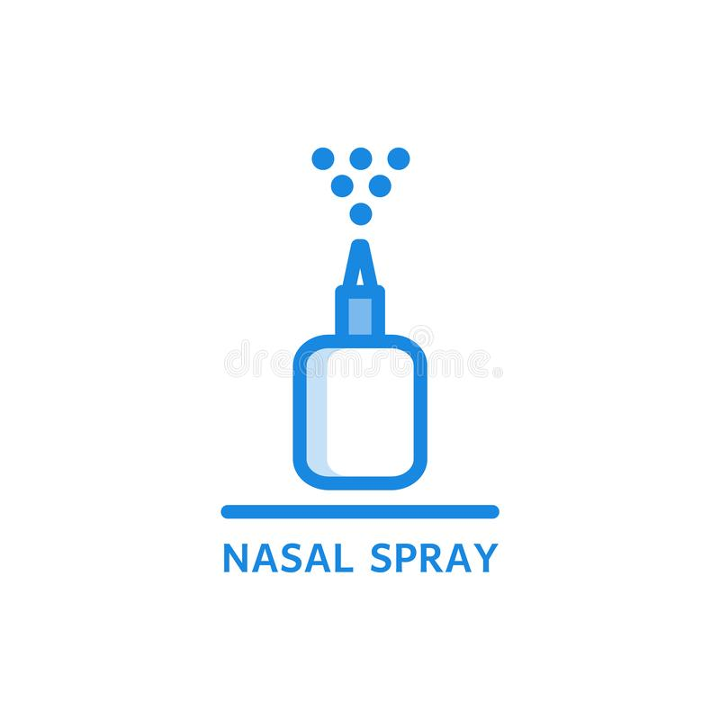 Nasal spray thin icon - plastic bottle with medicament spraying droplets up. Nasal spray thin icon - plastic bottle with medicament spraying droplets up royalty free illustration