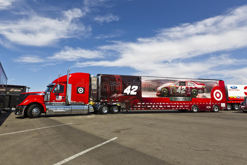 NASCAR 2012: Kobalt Tools 400. LAS VEGAS, NV - MAR 08, 2012: The NASCAR Sprint Cup hauler of Juan Pablo Montoya (42) waits to enter the Las Vegas Motor Speedway stock image