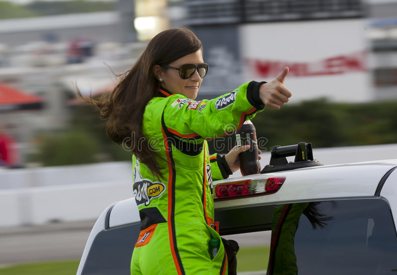NASCAR 2012: Sprint Cup Series AdvoCare 500. ATLANTA, GA - SEP 02, 2012: Danica Patrick (10) waves to the crowd before she races at the AdvoCare 500 at the royalty free stock photo