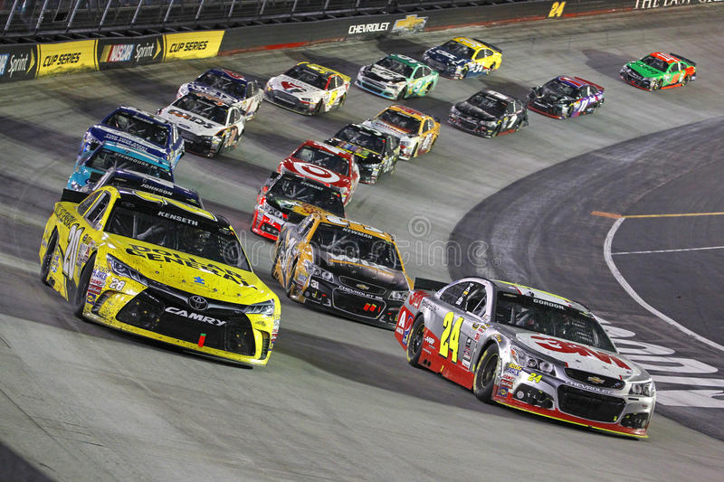 NASCAR: Apr 19 Food City 500. Bristol, TN - Apr 19, 2015: The NASCAR Sprint Cup Series teams take to the track for the Food City 500 at Bristol Motor Speedway in stock images