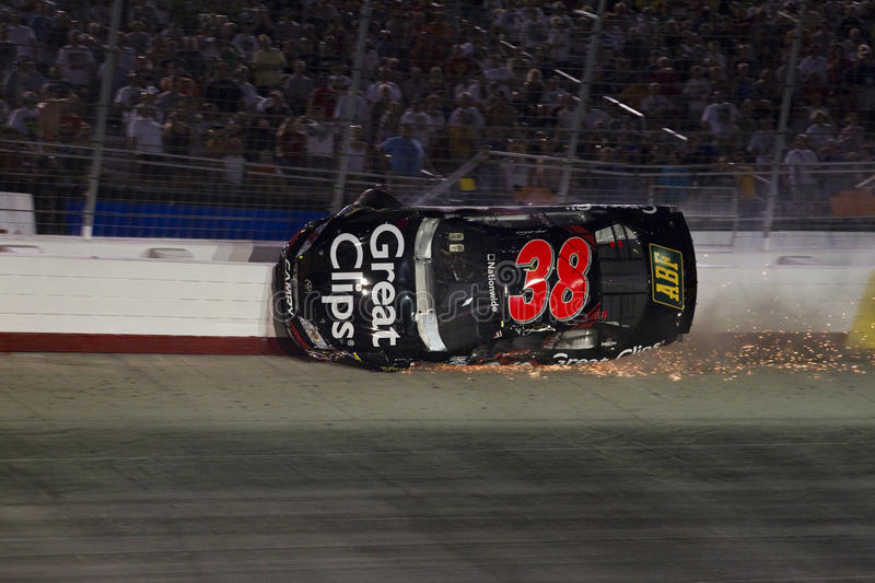 NASCAR: Aug 20 Food City 250. Bristol, TN - AUG 20, 2010: Kasey Kahn wrecks in turn one and two during the Food City 250 race at Bristol Motor Speedway in stock image