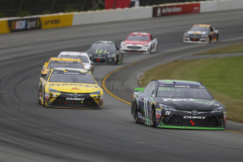 NASCAR: Aug 01 Pennsylvania 400. Long Pond, PA - Aug 01, 2016: Denny Hamlin (11) battles for position during the Pennsylvania 400 at the Pocono Raceway in Long stock images