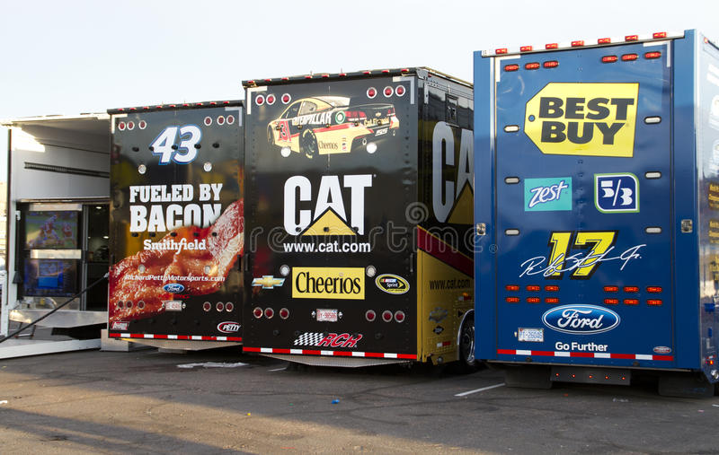 NASCAR car haulers at Phoenix International Raceway royalty free stock photography