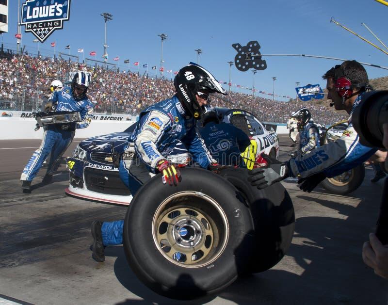 NASCAR-de Bestuurder Jimmie Johnson Pitstop van de Sprintkop royalty-vrije stock foto