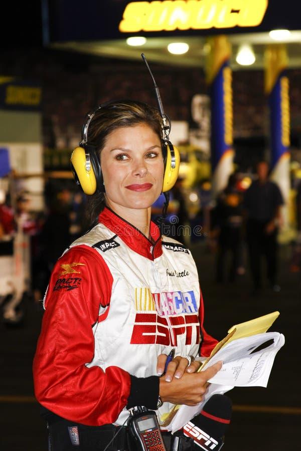 NASCAR - de Verslaggever Jamie van de Kuil ESPN weinig stock afbeelding