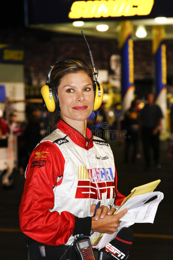 NASCAR - ESPN Pit Reporter Jamie Little. Jamie Little, pit road reporter for NASCAR Sprint Cup and Nationwide series for the ESPN family of neworks, during the stock image