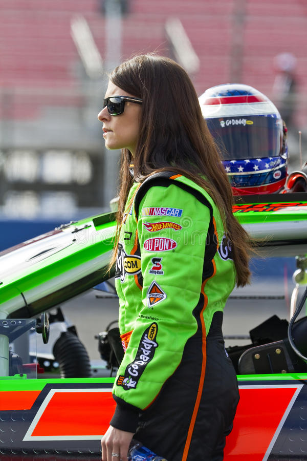 NASCAR: February 20 Stater Bros 300. Fontana, CA - February 20, 2010: Godaddy girl, Danica Patrick, gets ready to start the Stater Bros 300 race at the Auto Club stock photography
