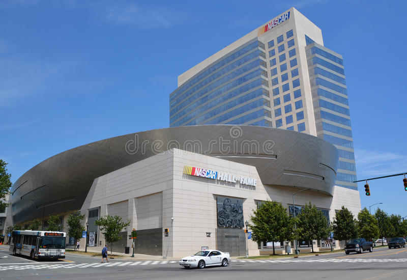 NASCAR Hall of Fame. CHARLOTTE NORTH CAROLINA JUNE 20 2016: NASCAR Hall of Fame. Opened in 2010 it honors drivers who have shown exceptional skill at NASCAR stock photos