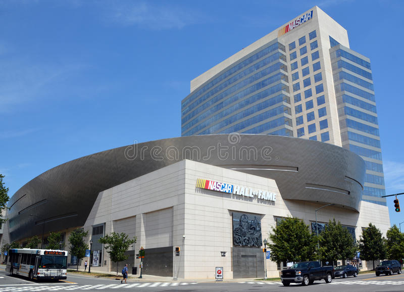 NASCAR Hall of Fame. CHARLOTTE NORTH CAROLINA JUNE 20 2016: NASCAR Hall of Fame. Opened in 2010 it honors drivers who have shown exceptional skill at NASCAR stock images