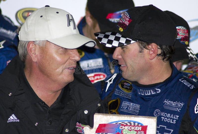 NASCAR Jimmie Johnson e Rick Hendrick imagem de stock