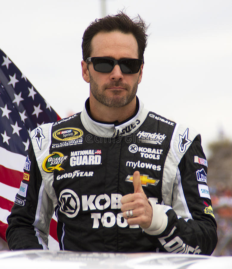 NASCAR Jimmie Johnson no canal adutor do International de Phoenix fotos de stock