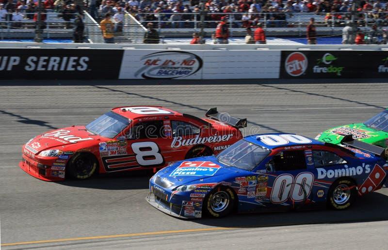 NASCAR - Jr versus Reutimann stock photo