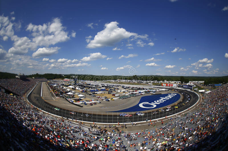 NASCAR: July 16 Overton`s 301. July 16, 2017 - Loudon, NH, USA: The Monster Energy NASCAR Cup Series teams race during the Overton`s 301 at New Hampshire Motor stock image