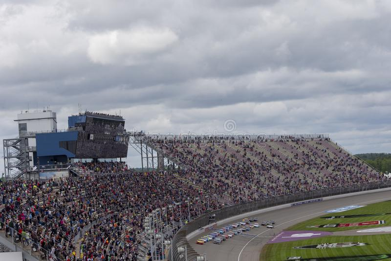 NASCAR: June 10 FireKeepers Casino 400. June 10, 2019 - Brooklyn, Michigan, USA: The Monster Energy NASCAR Cup Series teams take to the track for the FireKeepers royalty free stock images