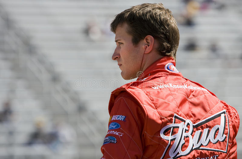 NASCAR: March 19 Food City 500. BRISTOL, TN - MAR 19: Kasey Kahne watches as the other cars practice for the Food City 500 race at the Bristol Motor Speedway on royalty free stock images