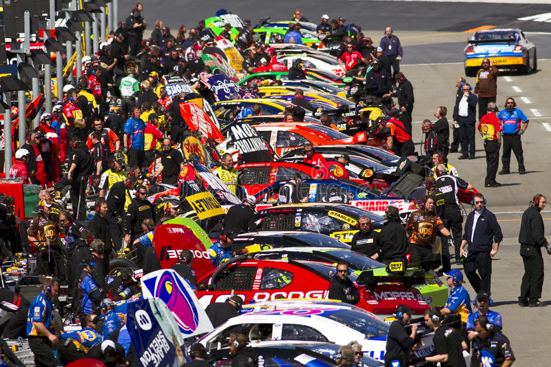 NASCAR: March 19 Food City 500. BRISTOL, TN - MAR 19: The NASCAR Sprint Cup teams take to the track for the running of the Food City 500 race at the Bristol stock photography