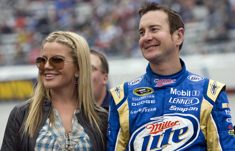 NASCAR: March 21 Food City 500. BRISTOL, TN - MAR 21: Kurt Busch and ewife Eva before the running of the Food City 500 race at the Bristol Motor Speedway on Mar royalty free stock image