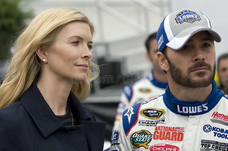 NASCAR: March 21 Food City 500. BRISTOL, TN - MAR 21: Jimmie Johnson stands with his wife Chandra before the running of the Food City 500 race at the Bristol stock images