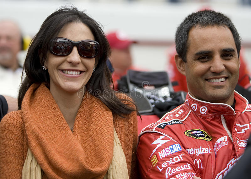 NASCAR: March 21 Food City 500. BRISTOL, TN - MAR 21: Juan Pablo Montoya and wife Connie Freydell Montoya before the running of the Food City 500 race at the stock photography