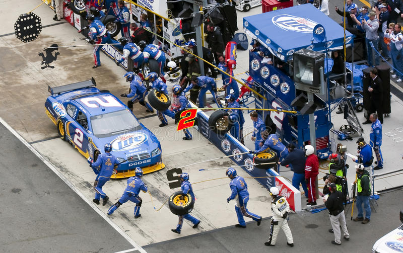 NASCAR: March 21 Food City 500. BRISTOL, TN - MAR 21: Kurt Busch brings his Miller Lite Dodge in for service during the running of the Food City 500 race at the royalty free stock images