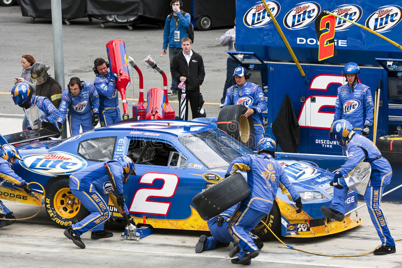 NASCAR: March 21 Food City 500. BRISTOL, TN - MAR 21: Kurt Busch brings his Miller Lite Dodge in for service during the running of the Food City 500 race at the stock image