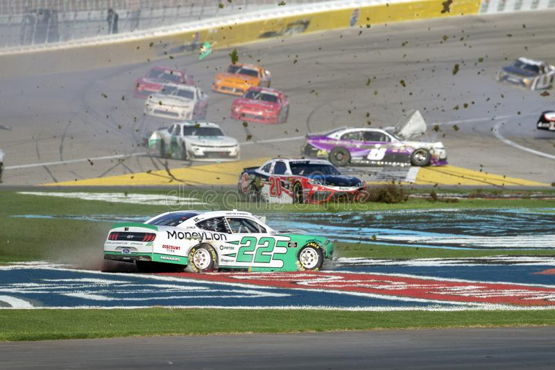 NASCAR: March 02 Boyd Gaming 300. March 02, 2019 - Las Vegas, Nevada, USA: Austin Cindric (22) battles for position and crashes around turn four at the Boyd stock photography