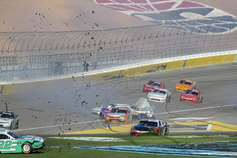 NASCAR: March 02 Boyd Gaming 300. March 02, 2019 - Las Vegas, Nevada, USA: Christopher Bell (20) battles for position and crashes around turn four at the Boyd stock image