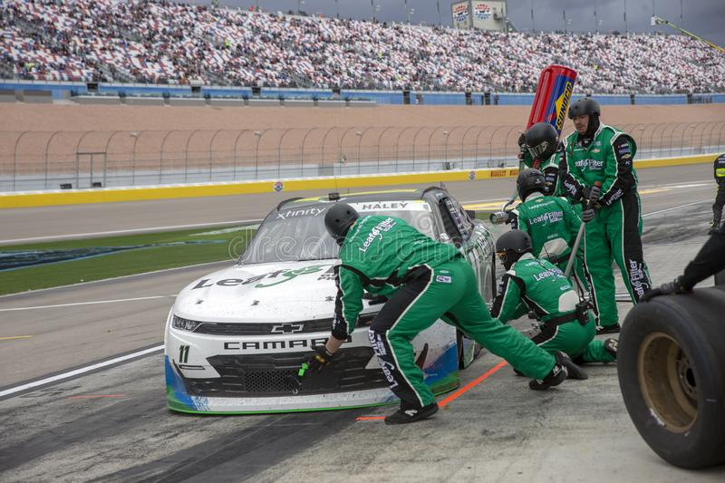 NASCAR: March 02 Boyd Gaming 300. March 02, 2019 - Las Vegas, Nevada, USA: Justin Haley 11 races through a pit stop at the Boyd Gaming 300 at Las Vegas Motor stock images