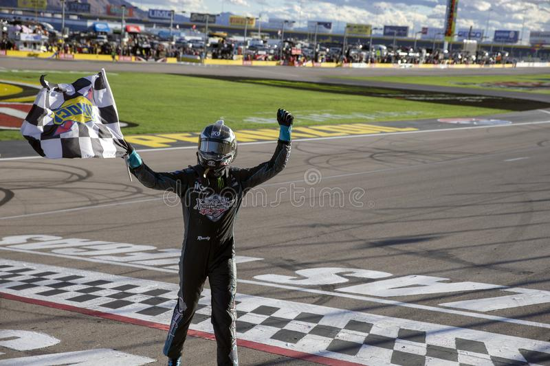 NASCAR: March 02 Boyd Gaming 300. March 02, 2019 - Las Vegas, Nevada, USA: Kyle Busch (18) celebrates his win at the Boyd Gaming 300 at Las Vegas Motor Speedway stock image
